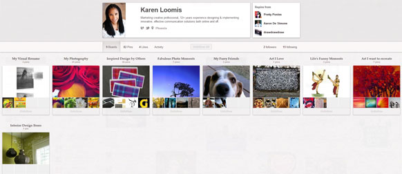 An excellent portfolio on Pinterest, displaying various interests and hobbies.
