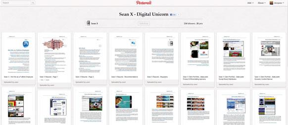 A screen capture of a heavily visual Pinterest profile.