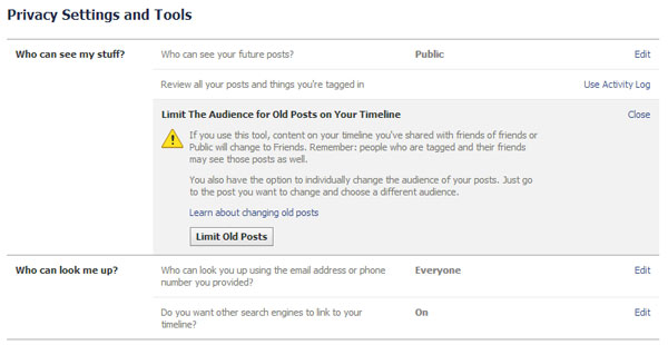 Limit old posts on your facebook