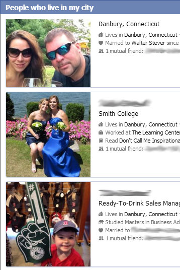 Using Facebook's graph search feature to find people who live near you, whether friends of yours or not.