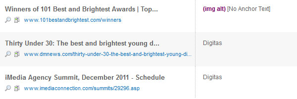 A listing of some of the results for a Digitas search on OpenSiteExplorer