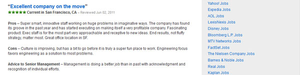 An example of an employee review as soon on Glassdoor.com.